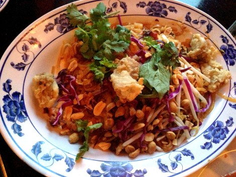 crispy oyster and bacon pad thai at talde