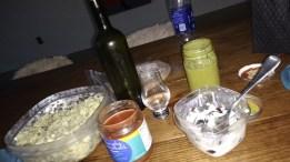 eggs, salsa, raki (greek moonshine), yogurt, smoothie