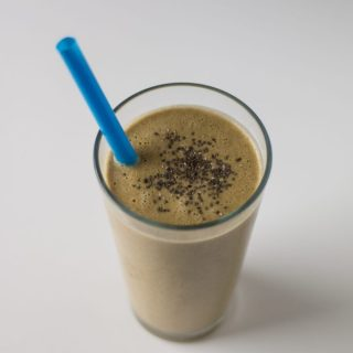 """Peanut Butter,"" Banana, Chia Protein Shake | www.thenutfreevegan.net"