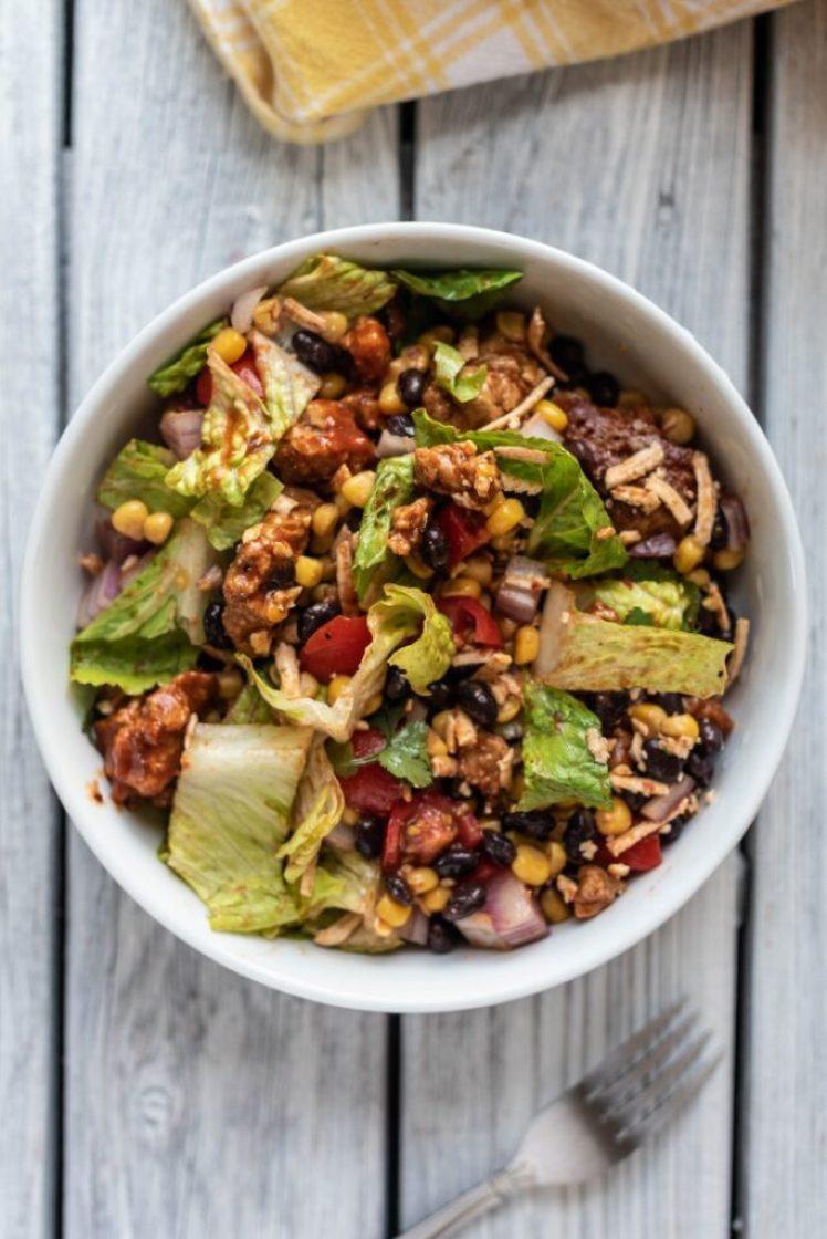 Vegan BBQ Seitan Salad nutfreevegan