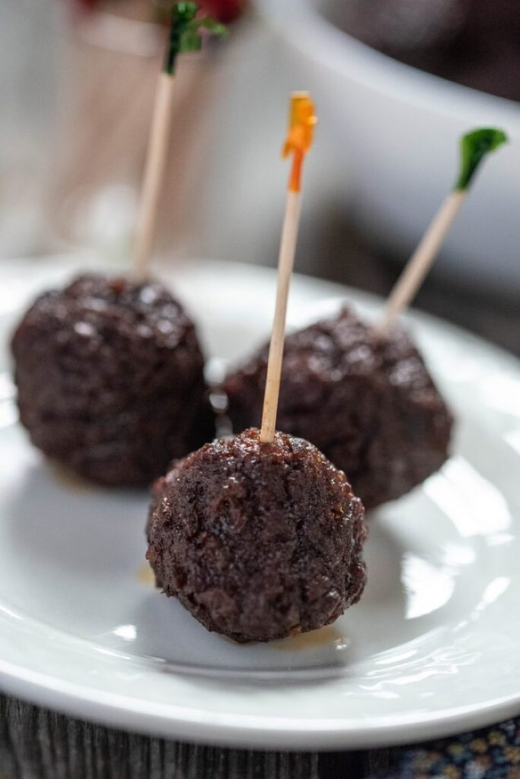 Sweet and Spicy Slow Cooker Meatballs Vegan Nutfreevegan