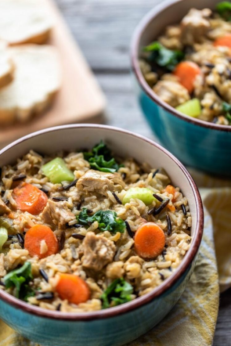 "Instant Pot Wild Rice Stew with ""Chicken"" nutfreevegan"