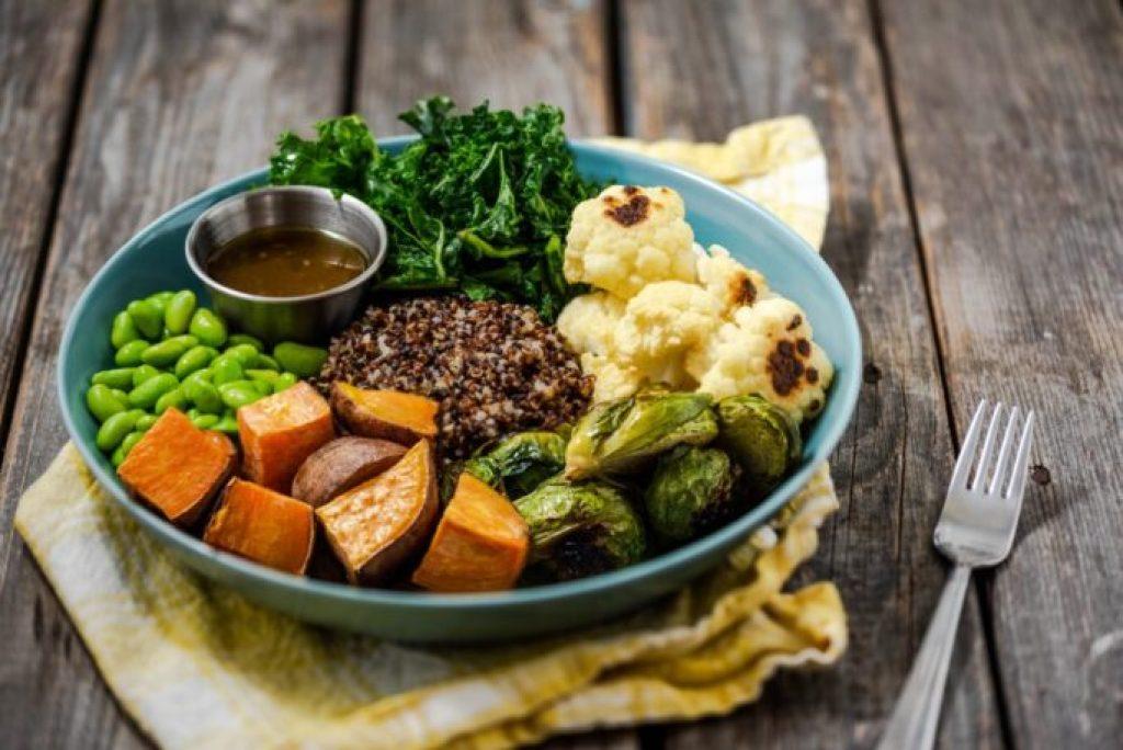 Roasted Vegetable Buddha Bowl with Maple Dijon Vinaigrette