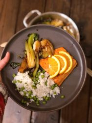 orange honey glazed salmon with garlic sesame bok choy