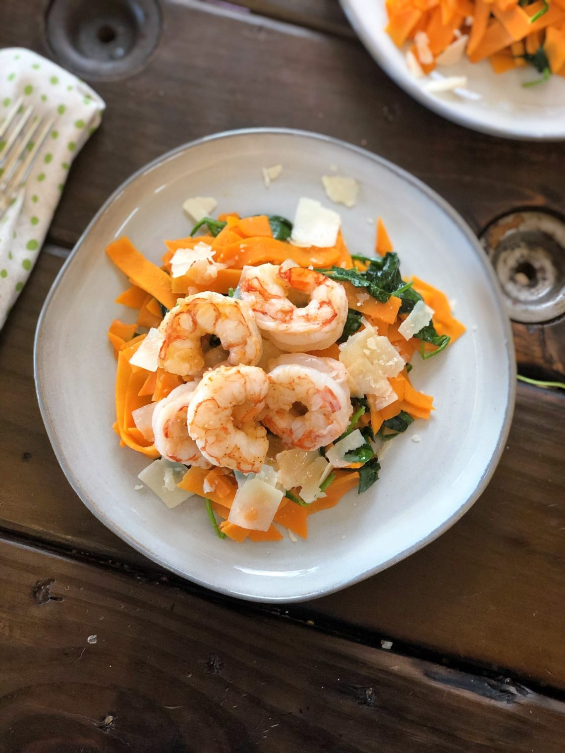 Simple Sweet Potato Pasta with Shrimp