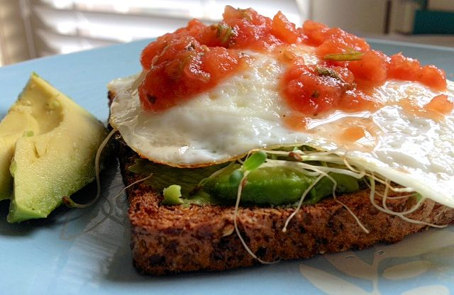Fried Egg, Avocado & Salsa on Toast