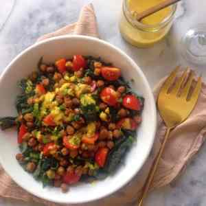 Kale Salad with Tandoori Chickpeas