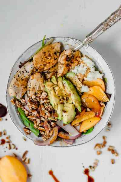 Caramelized Chicken & Peach Goat Cheese Summer Salad
