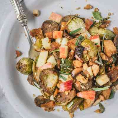 Roasted Apple & Brussel Sprouts Sausage Bake