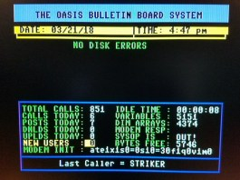 Oasis BBS Waiting for Call screen