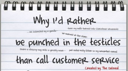 rather get punched in the testicles than call customer service