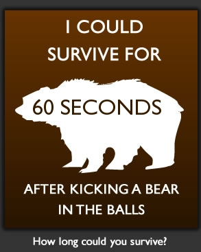 How long could you survive after punching a bear in the balls?
