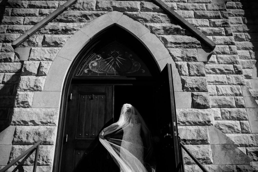 wv winter wedding bride entering church