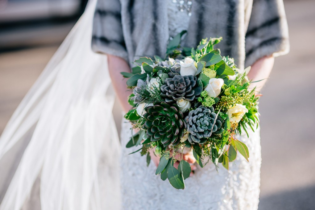 wv winter wedding succulent bouquet