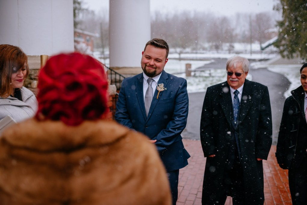 lewisburg wv snowy springtime elopement