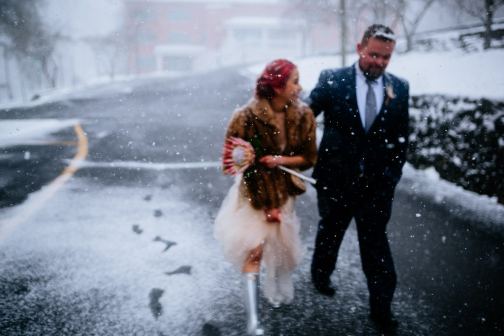 wv snowy wintry elopement