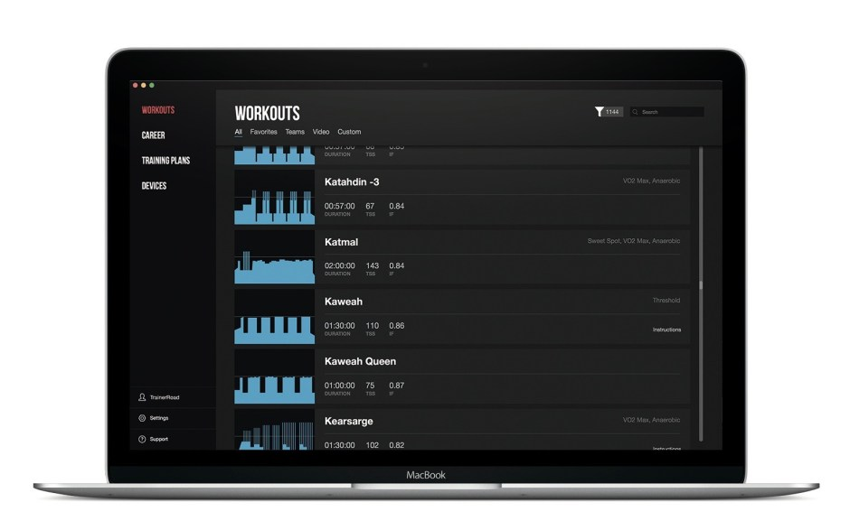 Trainerroad app features a vast library of workouts
