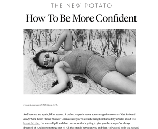 """An Article by Lauren Rosen, LMFT, entitled """"How to Be More Confident"""" with a photo of a woman in a bathing suit."""