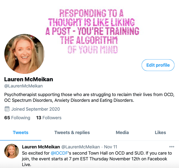Lauren Rosen, LMFT's twitter page. Lauren educates people about OCD across various social media platforms.