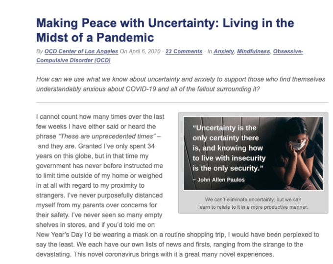 Lauren McMeikan Rosen, LMFT, writes about how to navigate anxiety during the pandemic.