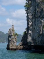 View from our kayak of the limestone cliffs on Halong Bay