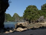 Opposite side of the beach, view of Halong Bay