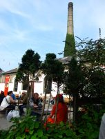 Outdoor cafe near Pusher Street, prices were in Danish Crown and Christiana Løn