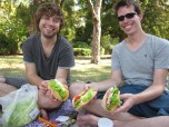 The boys and their sandwiches