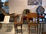 Victorian-era chairs of Swedish Design. Note the mother-of-pearl inlaid beauty in the back!