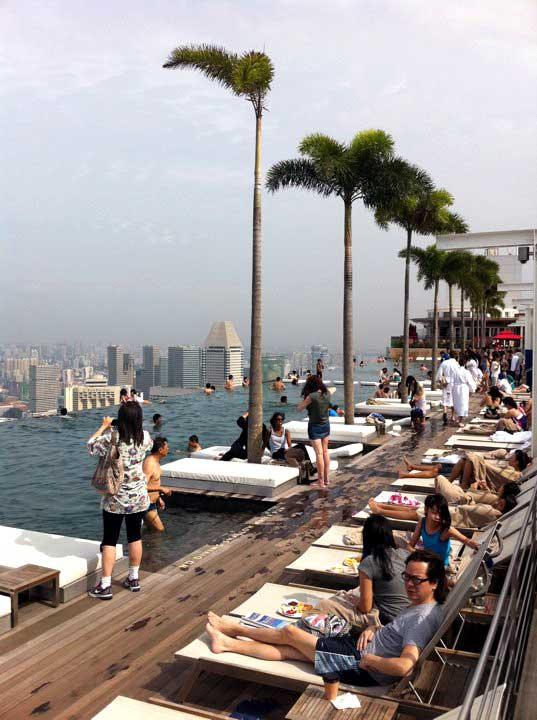 Marina Bay Sands Pool Deck People