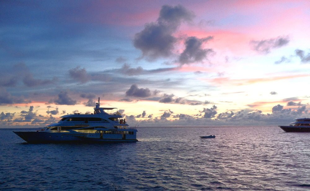 Maldives Diving LOB Boat Sunset