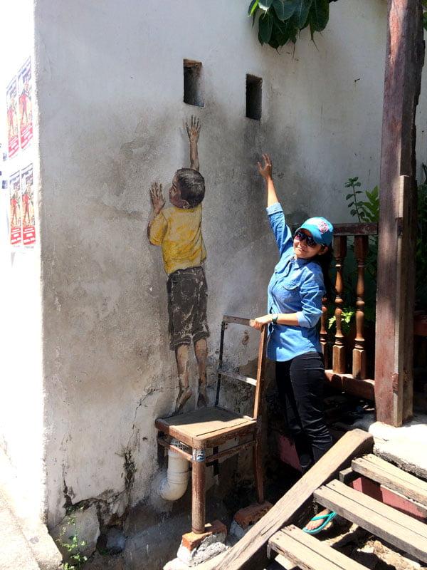 Penang Street Art - Boy on Chair EZ