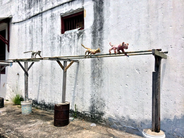 Penang Street Art - Cat clothesline