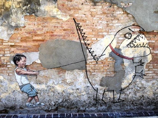 Penang Street Art - Lebuh Ah Quee Kite-Dino ErnestZ