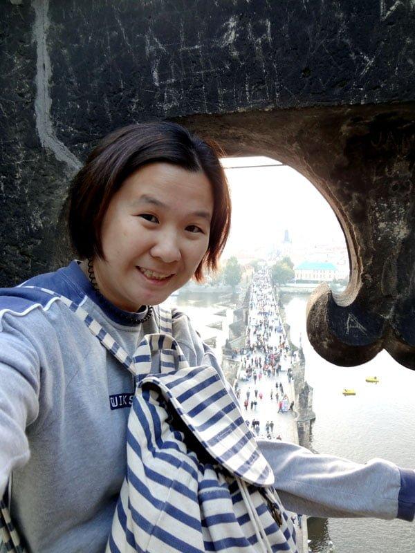 prague charles bridge selfie