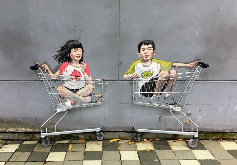 Singapore Street Art ErnestZ Kids in Trolleys