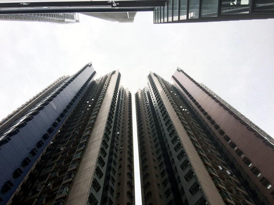 Hong Kong Buildings Looking Up