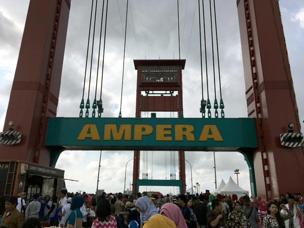 South Sumatra Palembang Eclipse Ampera Bridge After