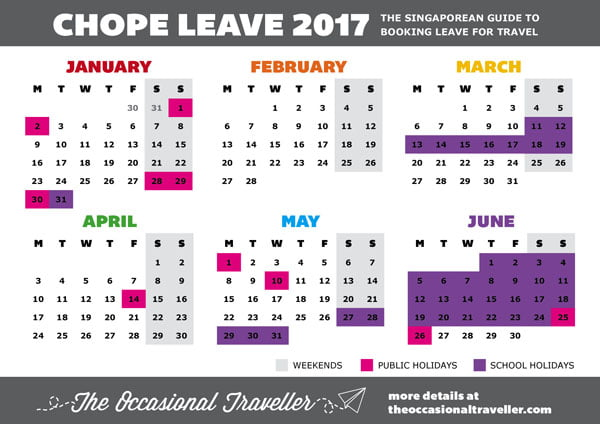 The Singaporean guide to taking leave for travel – Jan-Jun 2017
