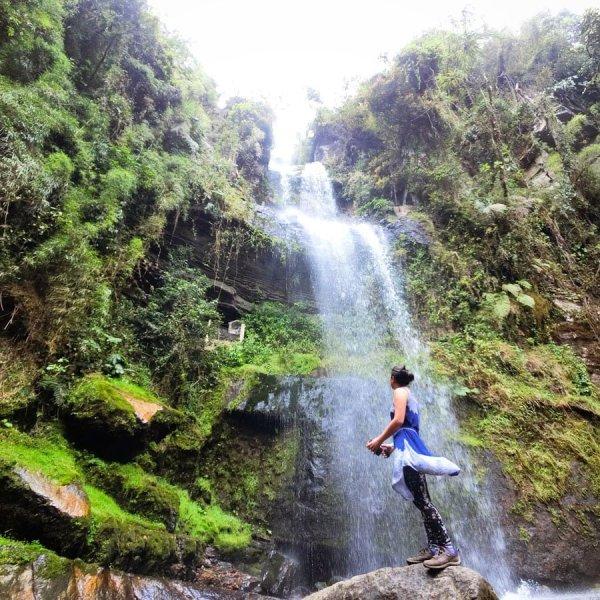Colombia La Chorrera Waterfall Selfie