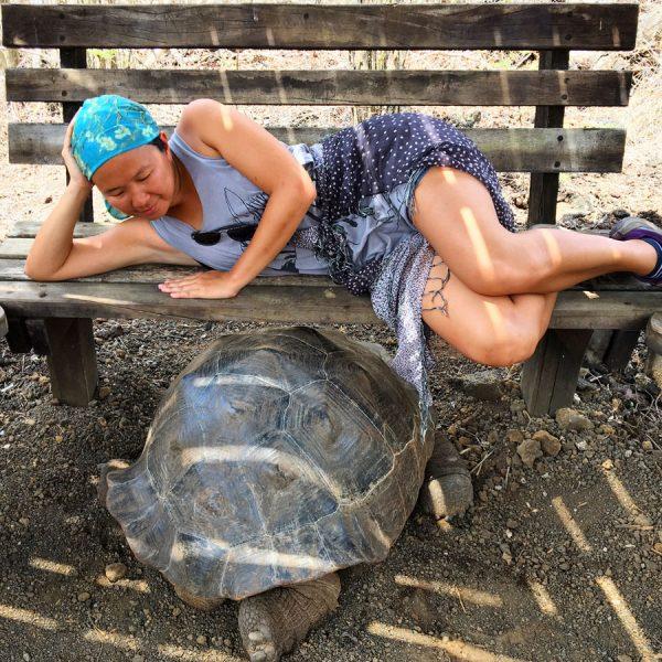 Galapagos Isabela Lacrimas Tortoise Selfie