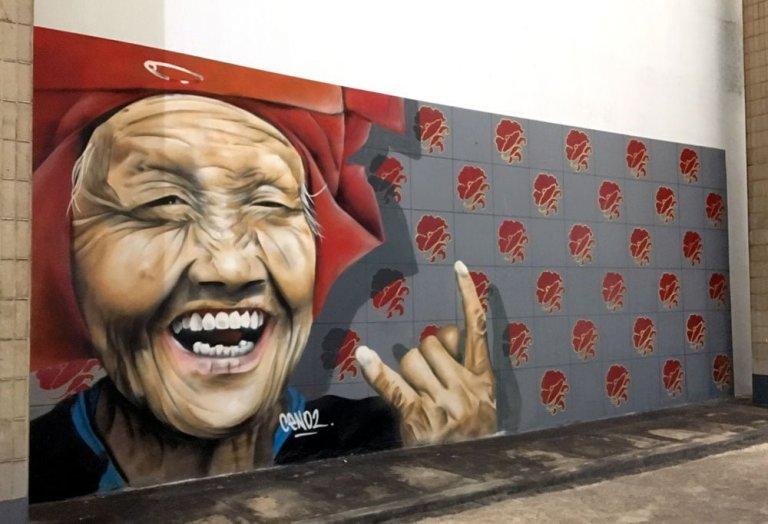 Singapore Street Art Chinatown Amoy Food Centre Ceno2 Samsui Woman