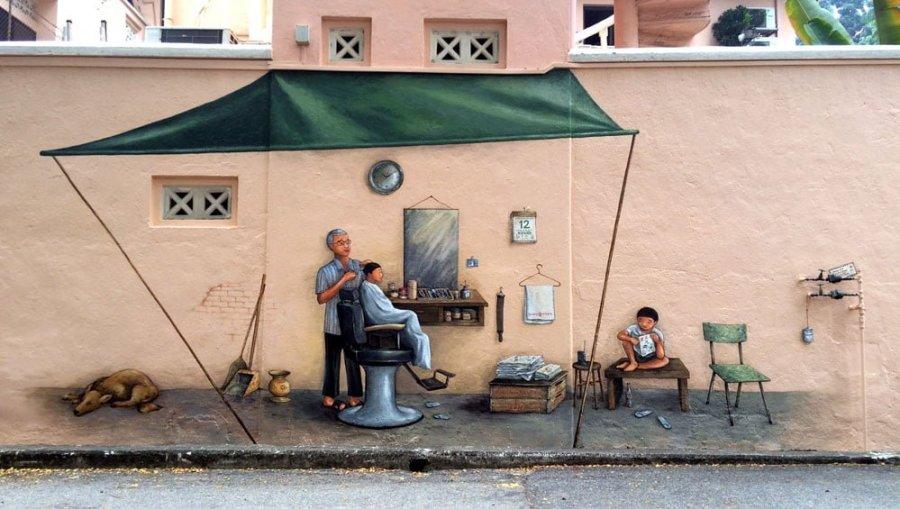 Singapore Street Art Everton Road YipYC Barber