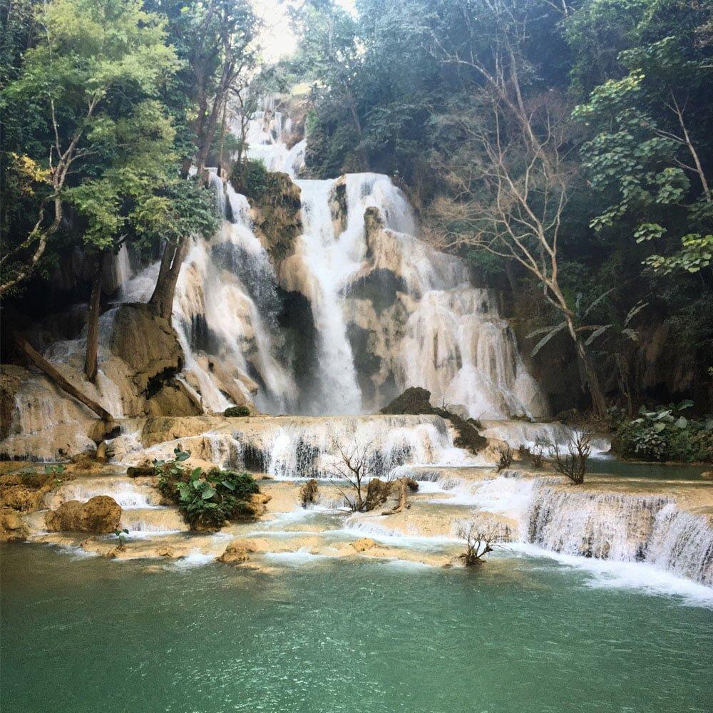 Laos Luang Prabang Kuang Si Waterfall Upper