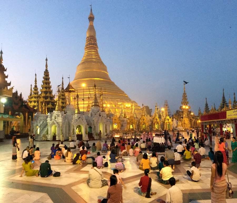 Yangon Shwedagon Pagoda Morning Prayer