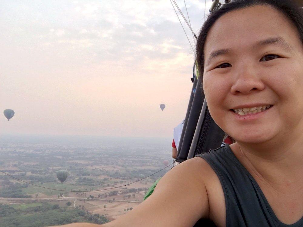 Bagan Ballooning Flying Selfie