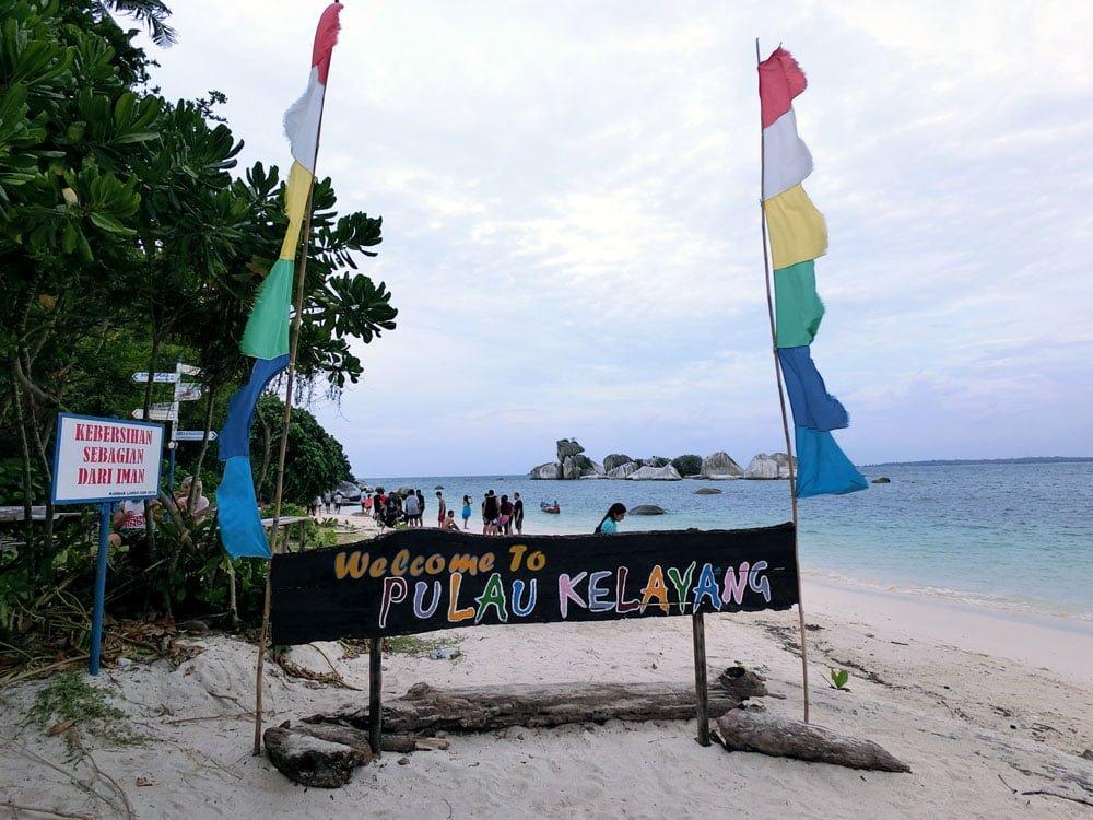 Belitung Kelayang Island Sign