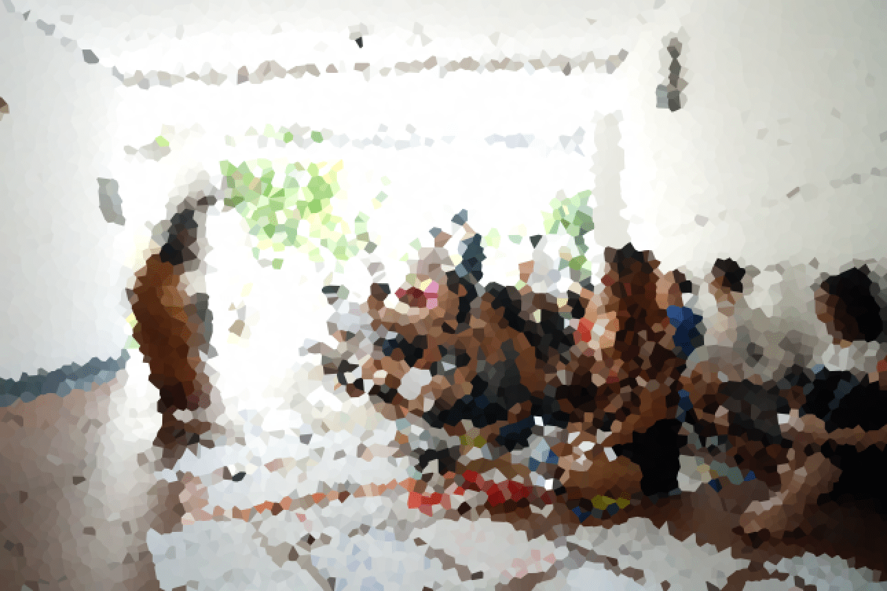 Photo of the sit-in protest. The image has been obscured to protect identities.