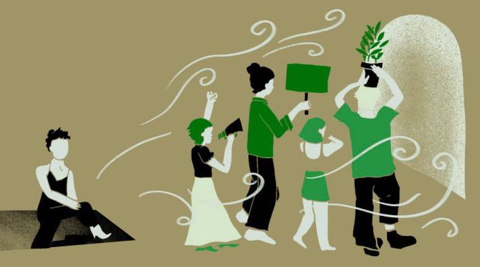 An illustration of students advocating for social causes