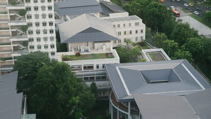 A picture of the heart of the Yale-NUS Campus, overlooking the Oculus and Elm College.